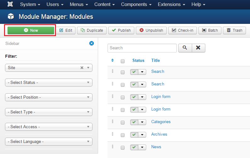 """Joomla 3.x. Как создать модуль """"HTML-код"""" - Центр Поддержки TemplateMonster"""