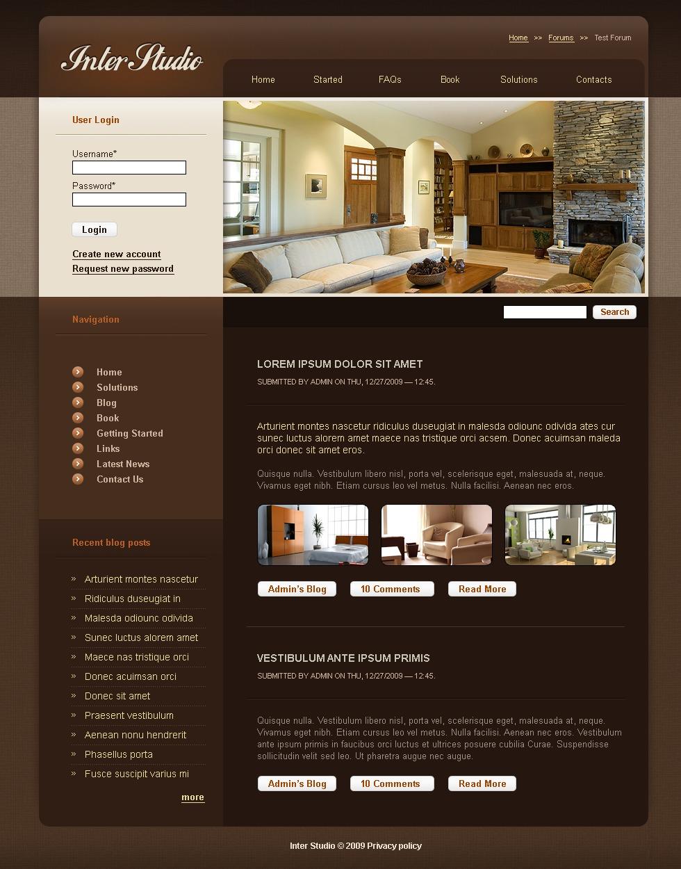 Шаблон для студии дизайна интерьера joomla 3