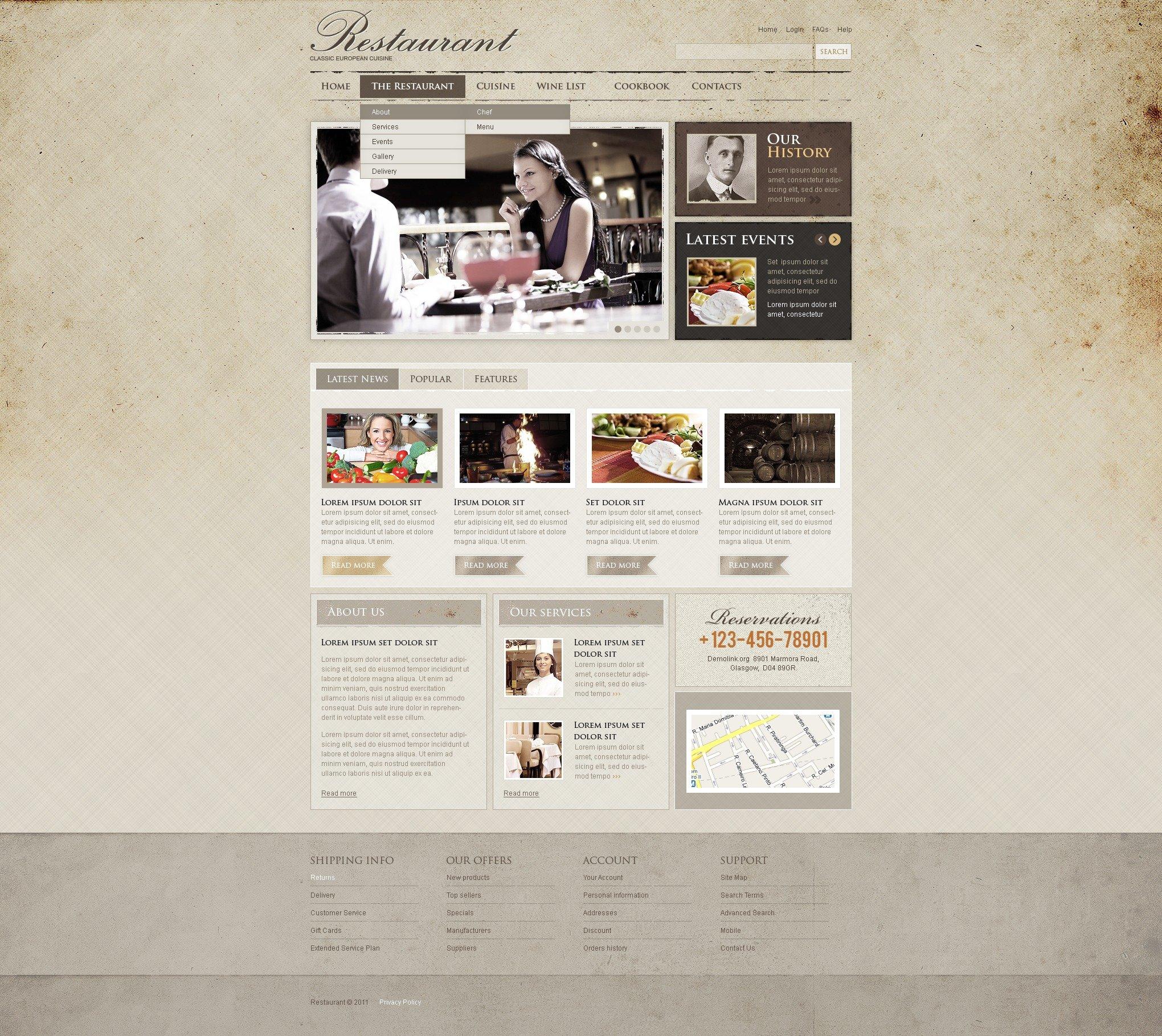 Gastronymous - бесплатный psd-шаблон (для страниц тематики еда/рестораны)
