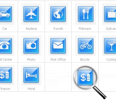 Icon-Sammlung Vorlage für Reisebüro