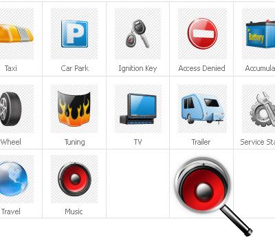 Icon-Sammlung Vorlage für Autoteile