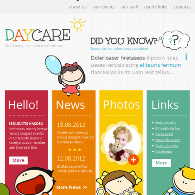 Day Care Facebook HTML CMS Template
