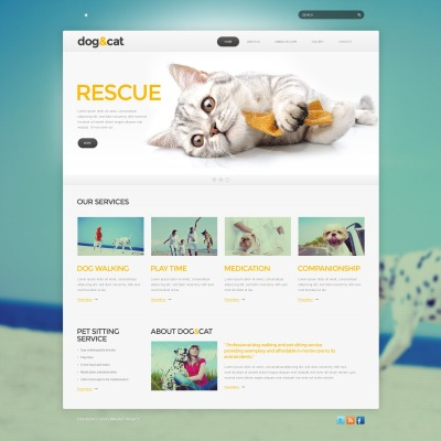 Website Vorlage für Katze