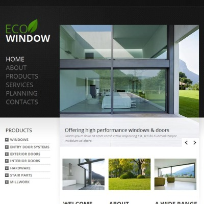 Windows & Doors Facebook HTML CMS Template