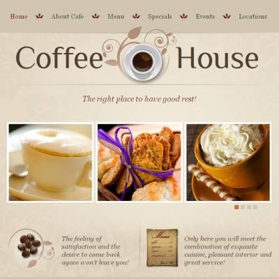 Facebook HTML CMS Vorlage für Kaffeeshop