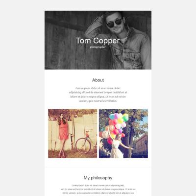 Responsive Newsletter Vorlage für Fotografen Portfolio