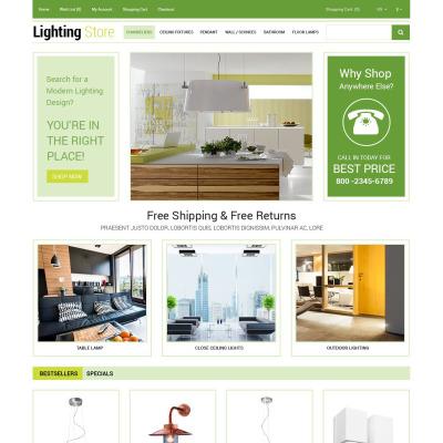 Responsive OpenCart Vorlage für Lighting & Strom