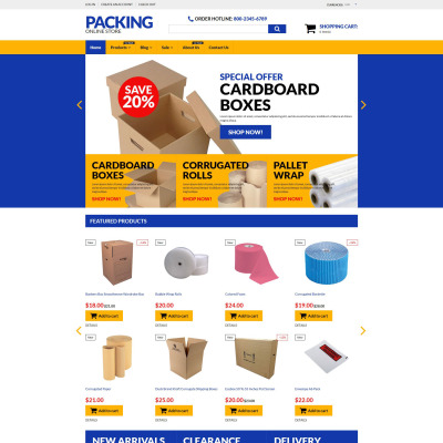 Responsives Shopify Theme für Verpackung
