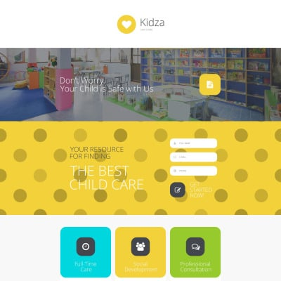 Day Care Responsive Landing Page Template