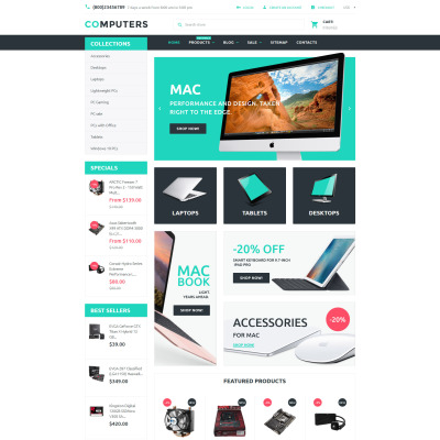 Computer Store Responsive Shopify шаблон