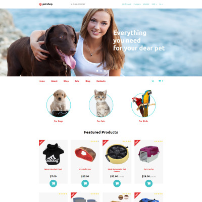 Pet Shop Responsive OpenCart шаблон