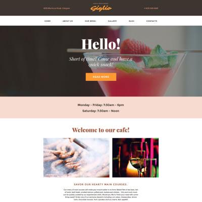 Thème WordPress adaptatif  pour site de café et restaurant