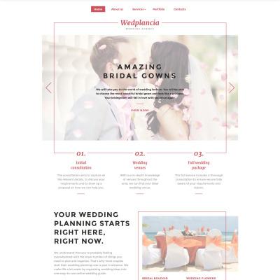Wedding Planner Responsive 网页模板