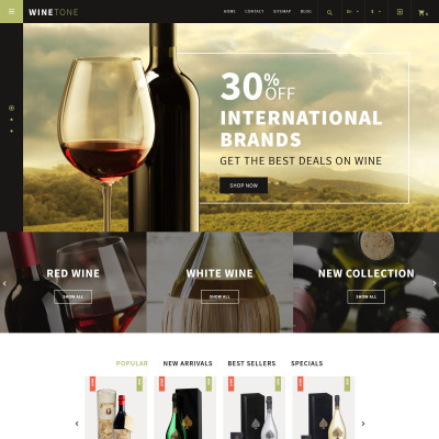 Winery Responsive PrestaShop шаблон