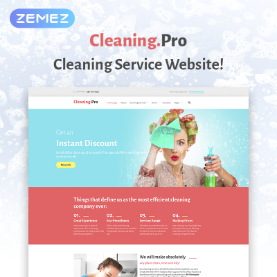 Cleaning Responsive WordPress模板