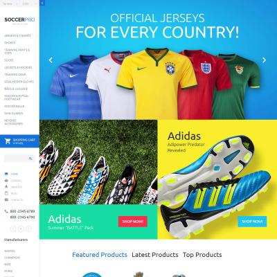 Soccer Responsive VirtueMart模板