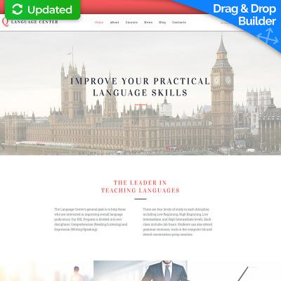 Flexível templates Moto CMS 3 №59056 para Sites de Escola de Idiomas