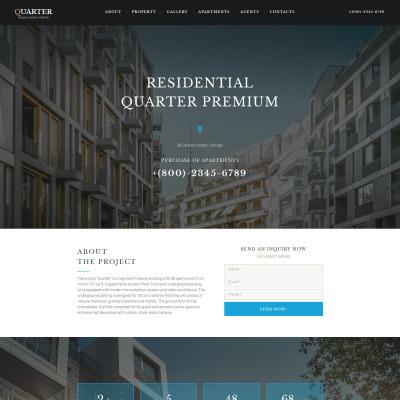 Flexível templates Moto CMS 3 №59070 para Sites de imobiliária