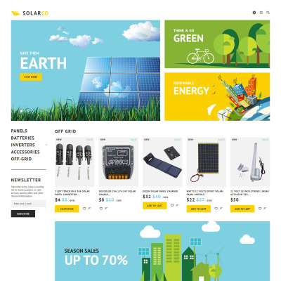 Solar Energy Responsive PrestaShop шаблон