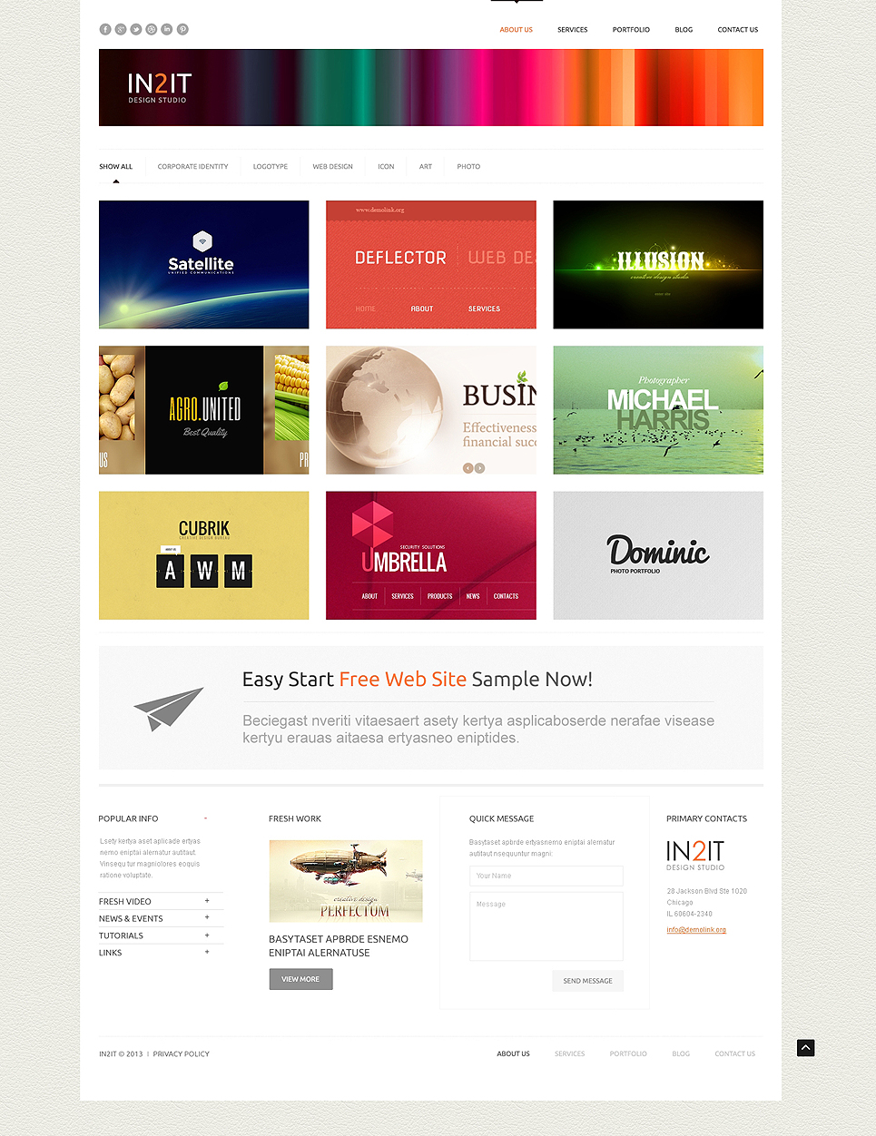 Шаблон сайта для дизайнера