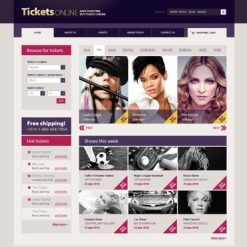 PSD Vorlage für Eintrittskarten Website