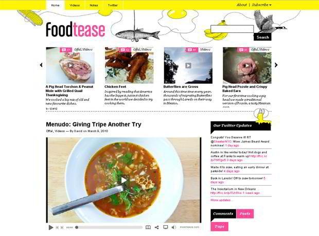 video blog wordpress - Foodtease.com