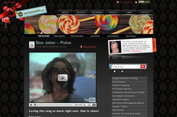video blog wordpress design - Larissameek.com