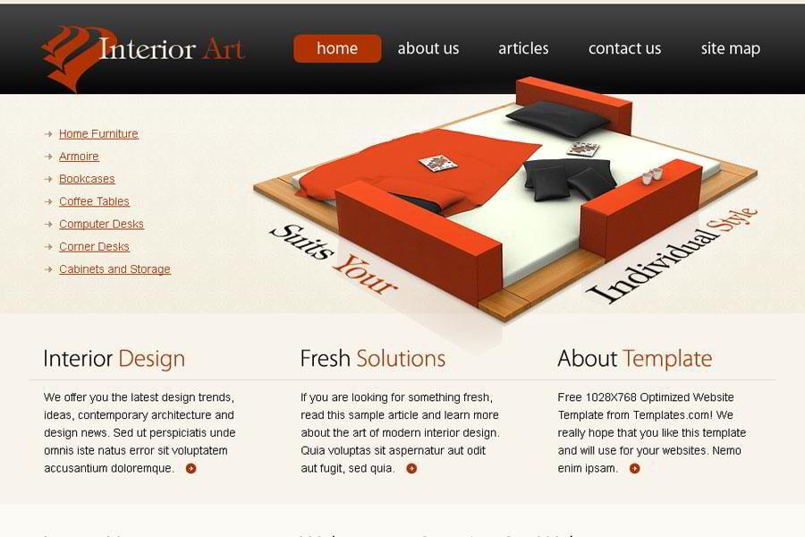 Free Interior Art Website Template From Templatemonster