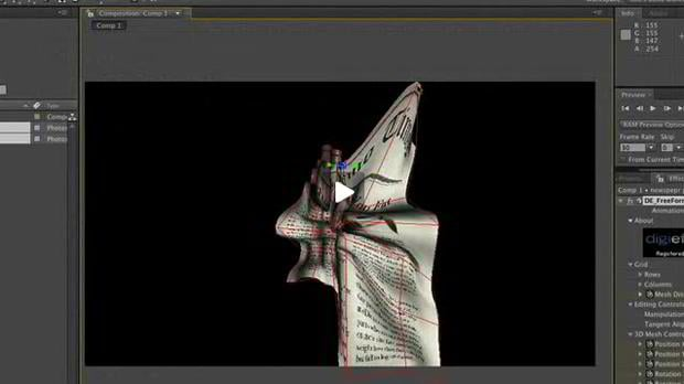 aftereffects video based tutorial – 3D Paper Crumple with Freeform AE