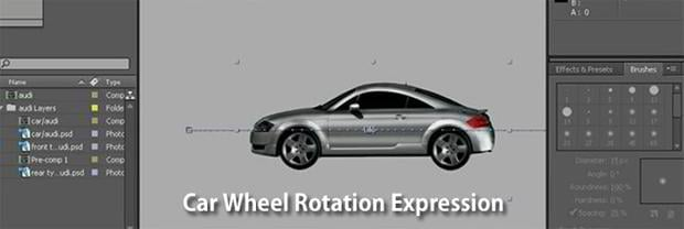video based tutorial aftereffects – Car Wheel Rotation Expression