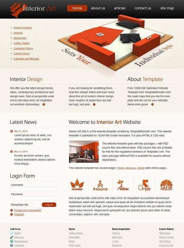 Free Website Template Interior Art