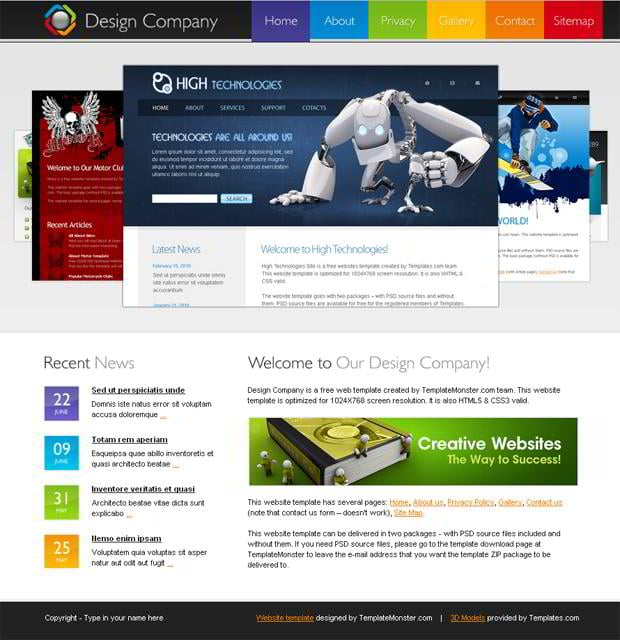 Free html5 template for design company website monsterpost for Free html blog templates
