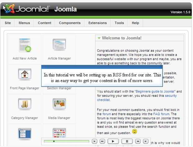 Setup RSS in Joomla 1.5