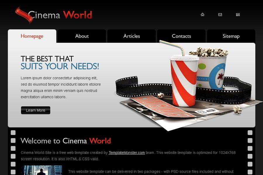 Free Cinema Website Template A New Monday Freebie