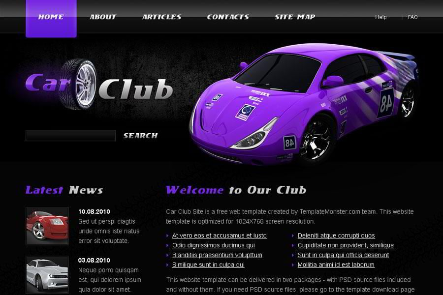 free cars website template from templatemonster