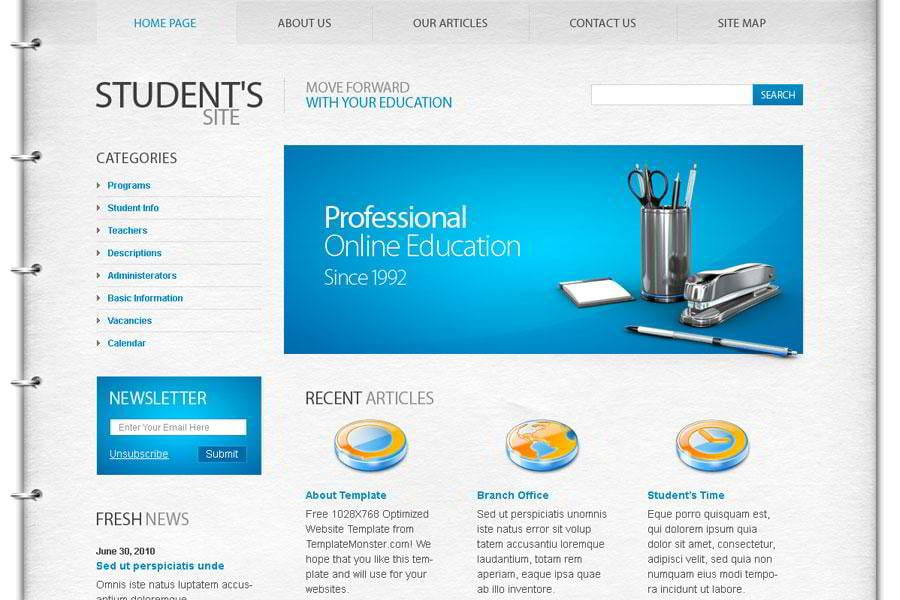 free education website template the best choice for students