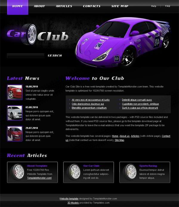 Free Cars Website Template from TemplateMonster - MonsterPost