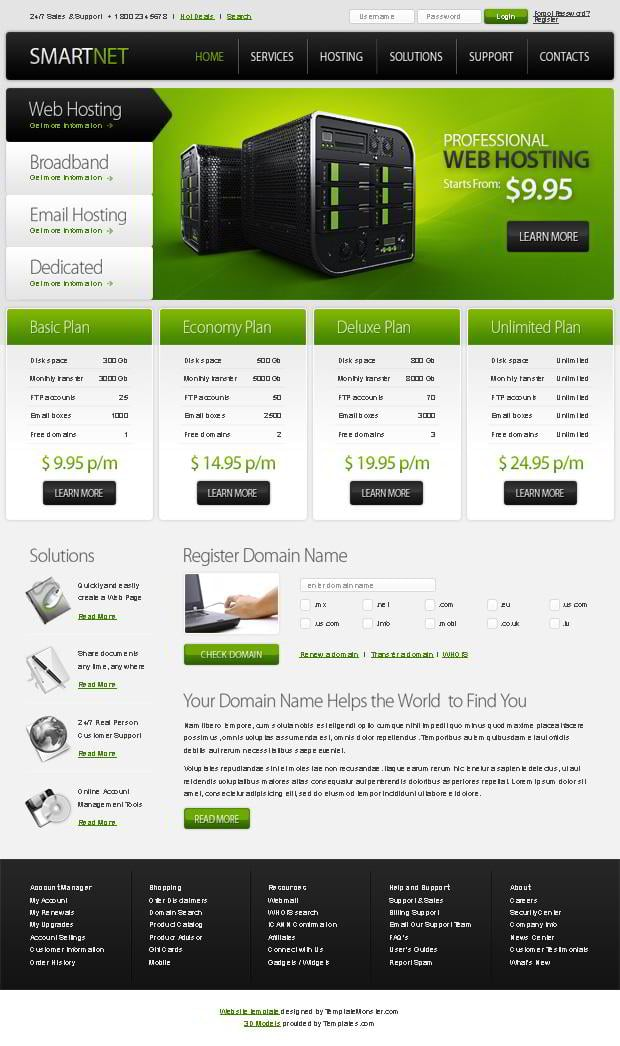 free html5 template for hosting website monsterpost. Black Bedroom Furniture Sets. Home Design Ideas
