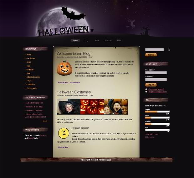 50% Halloween Discounts on Website Templates - MonsterPost