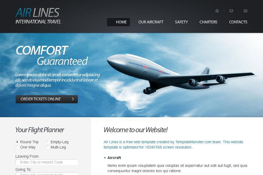 Free html5 website template for airlines company monsterpost free html5 website template for airlines company toneelgroepblik Choice Image