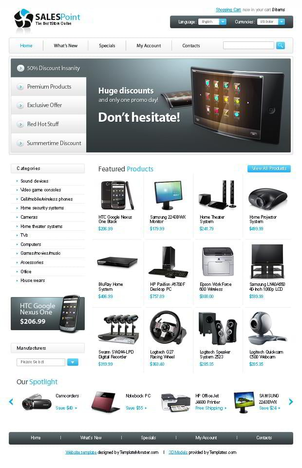 Free osCommerce Template for Electronics Store - MonsterPost