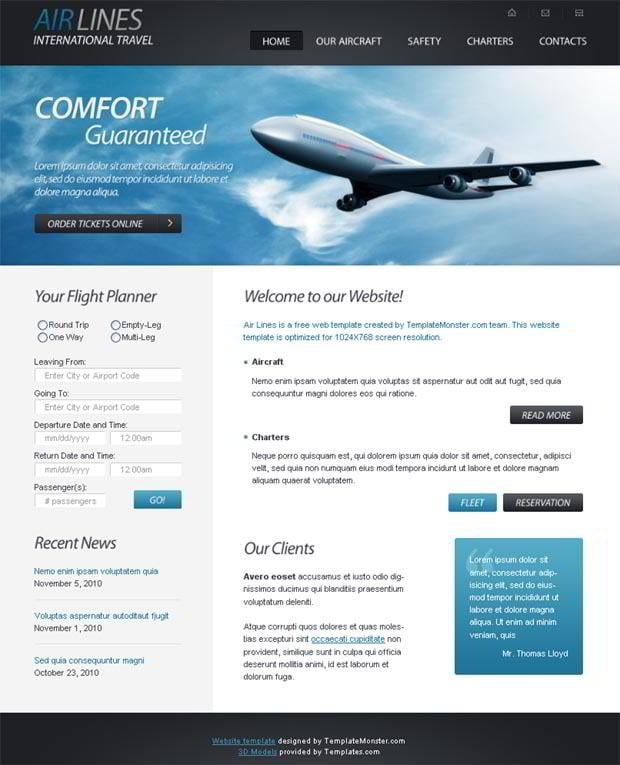 free html5 website template for airlines company monsterpost. Black Bedroom Furniture Sets. Home Design Ideas