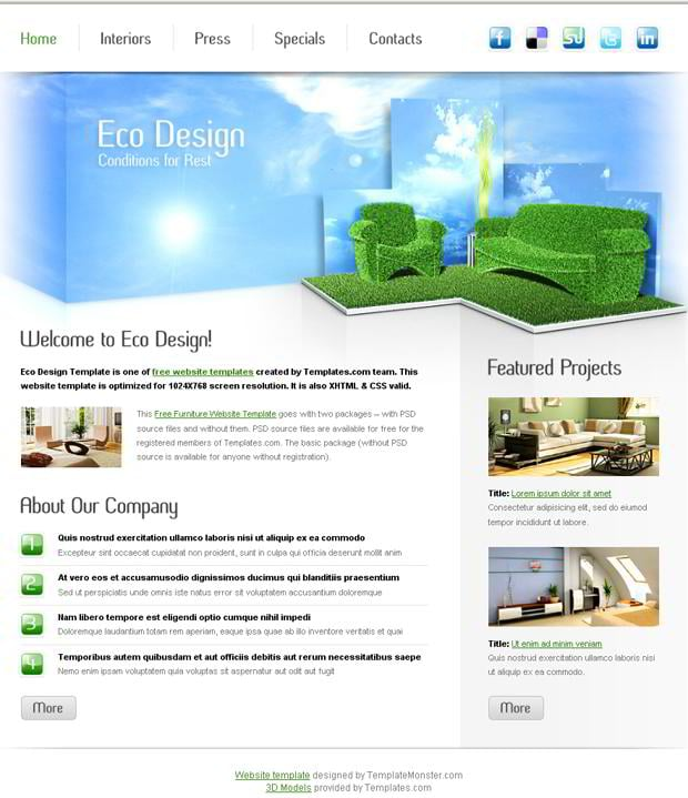 free furniture website template for eco design company monsterpost. Black Bedroom Furniture Sets. Home Design Ideas