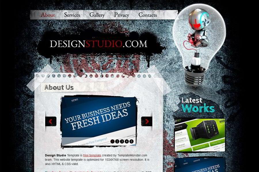 Free Website Template Excellent For Web Design Studio MonsterPost - Free website content template
