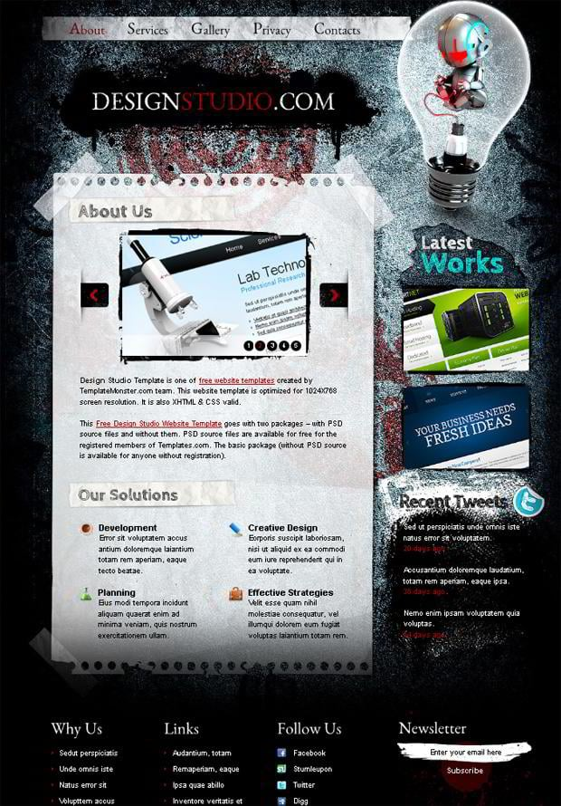 Free Website Template Excellent For Web Design Studio MonsterPost - What website template is this