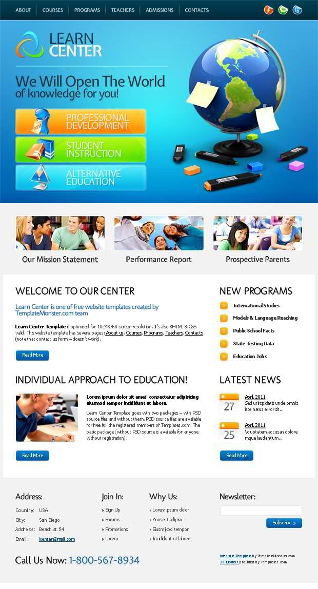 Free Education Website Template for Learn Center - MonsterPost