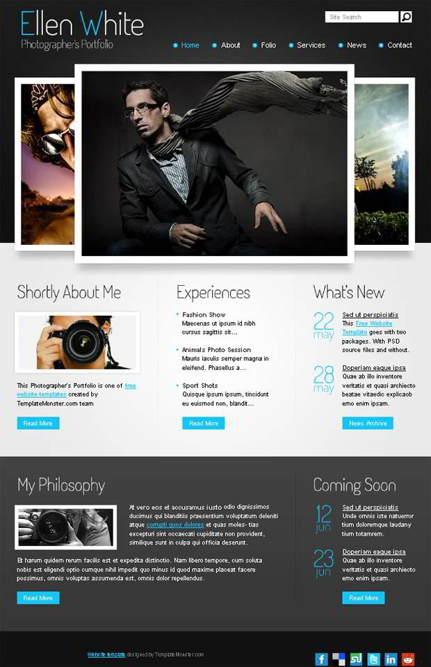 Free website template start photographer 39 s portfolio for Free portfolio website templates