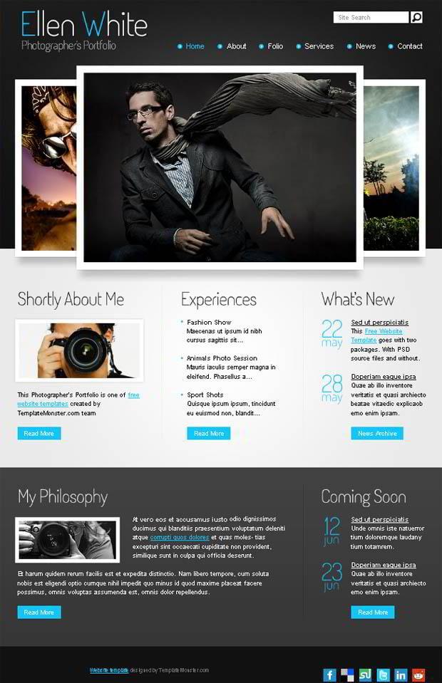 free website template start photographer 39 s portfolio monsterpost. Black Bedroom Furniture Sets. Home Design Ideas