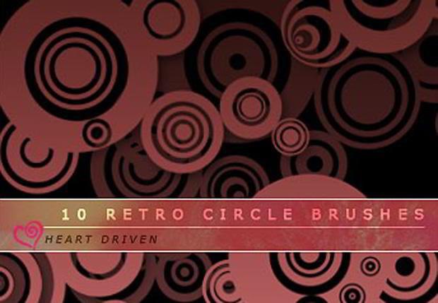 free retro circles photoshop brushes
