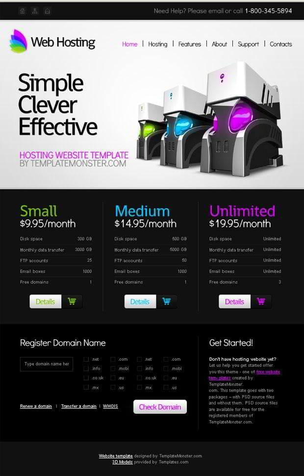 Free Website Template for Hosting Business - MonsterPost